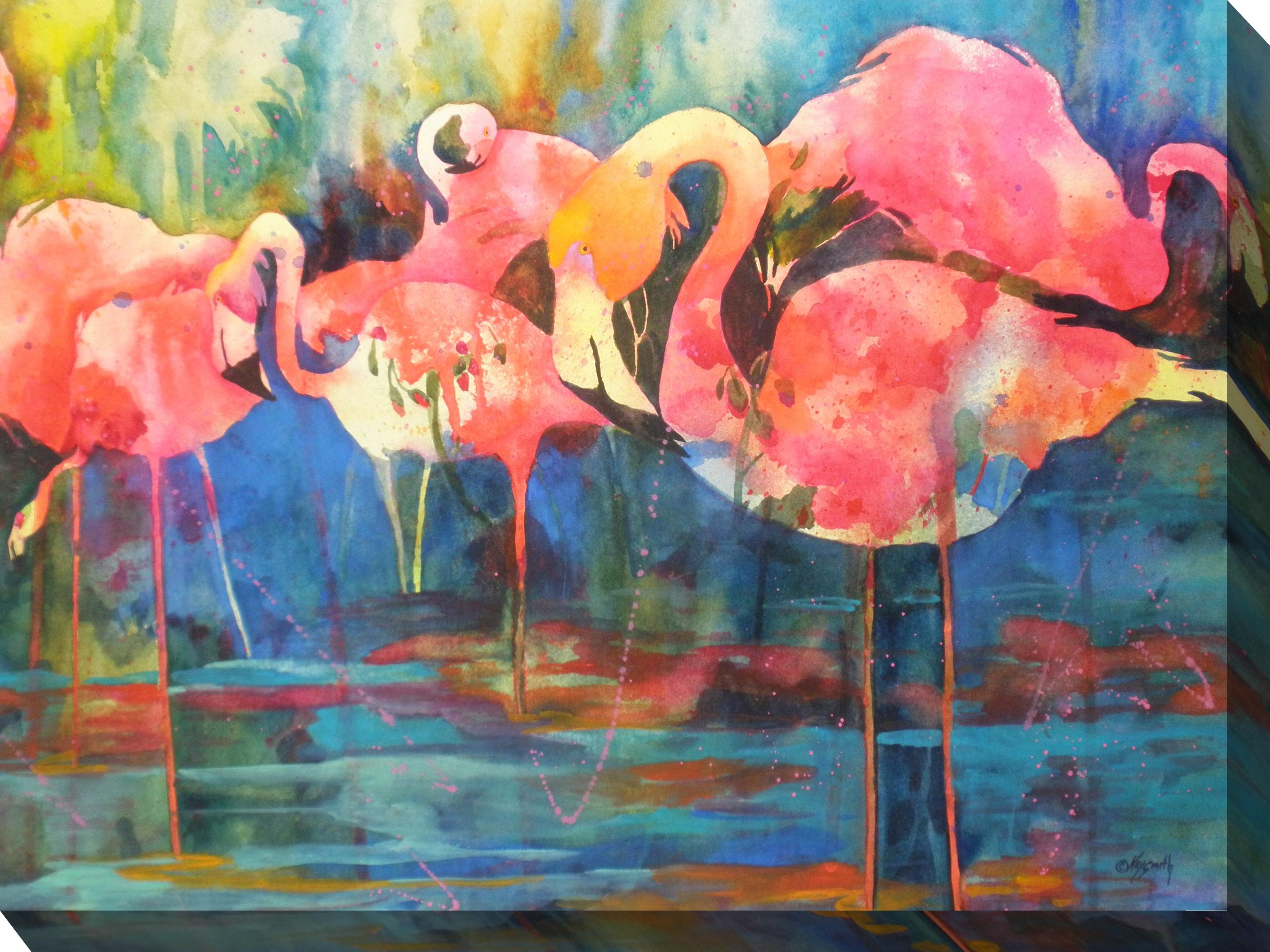 Canvas Wall Art Flirty Flamingos Product Photo