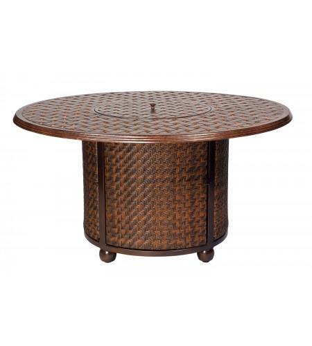 Wicker Fire Table Base Round Thatch Top Product Photo