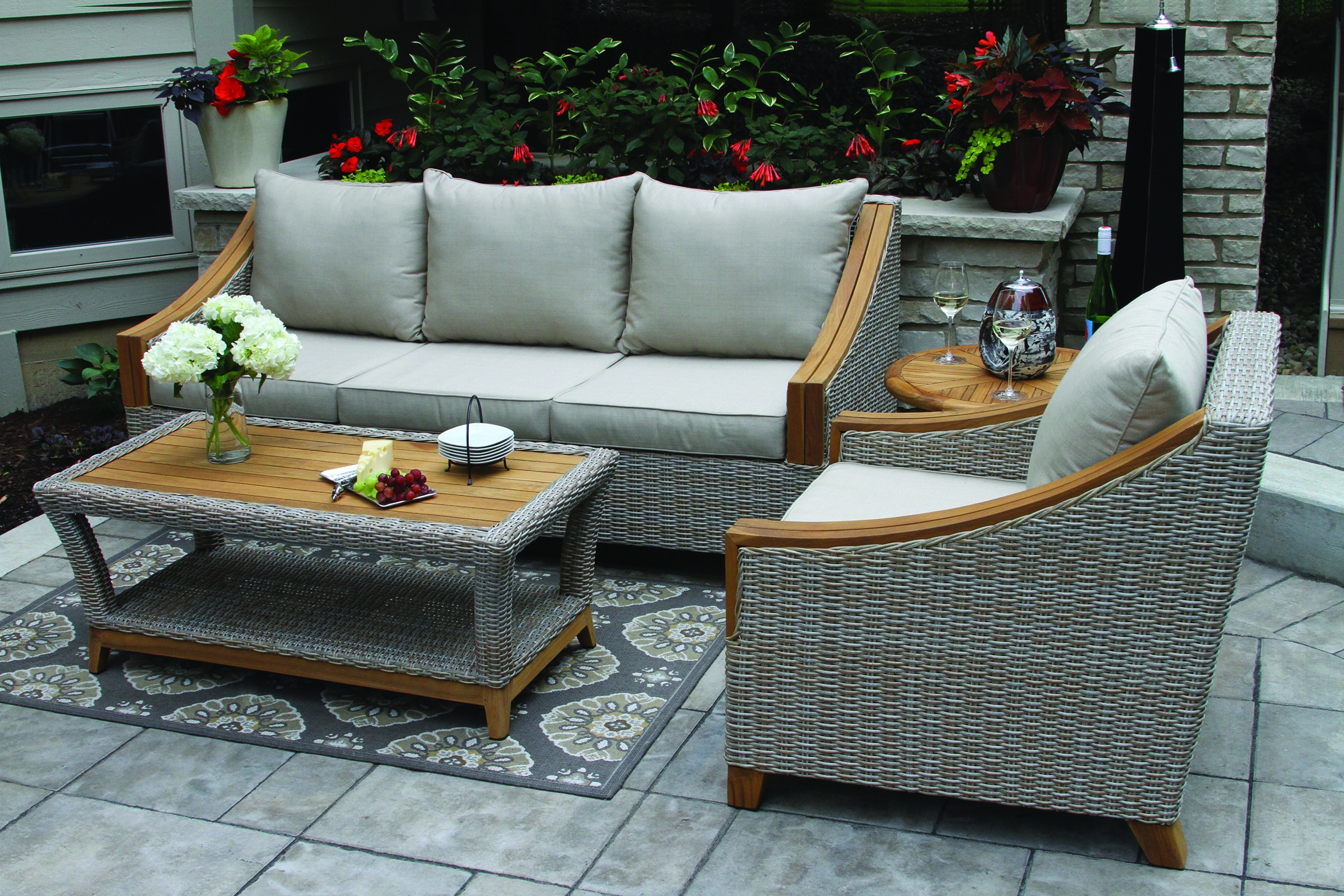 Teak Ash Wicker Deep Seating Set Sunbrella Product Photo