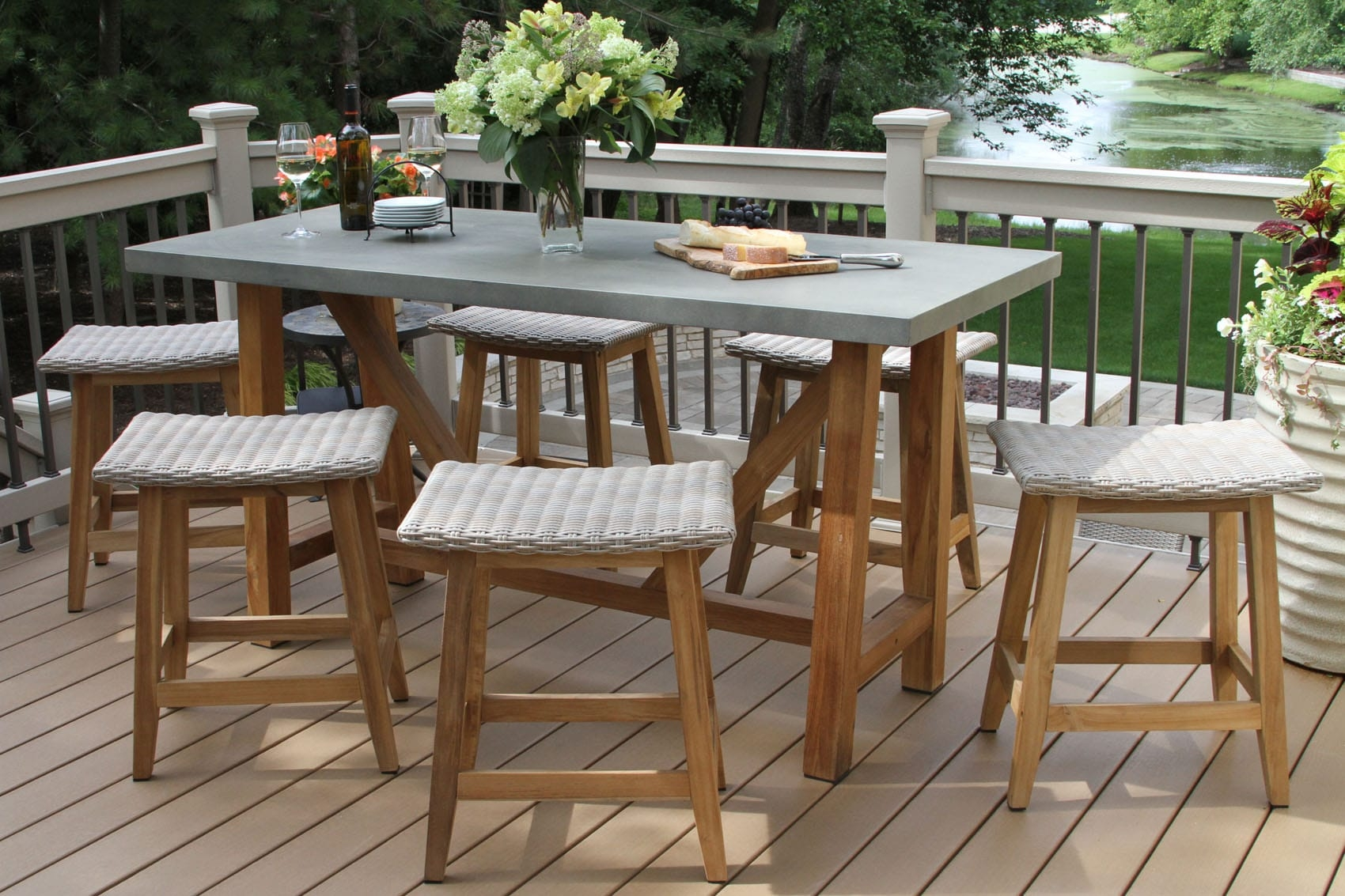 Teak Wicker Counter Dining Set Grey Composite Top Saddle Stools Product Photo