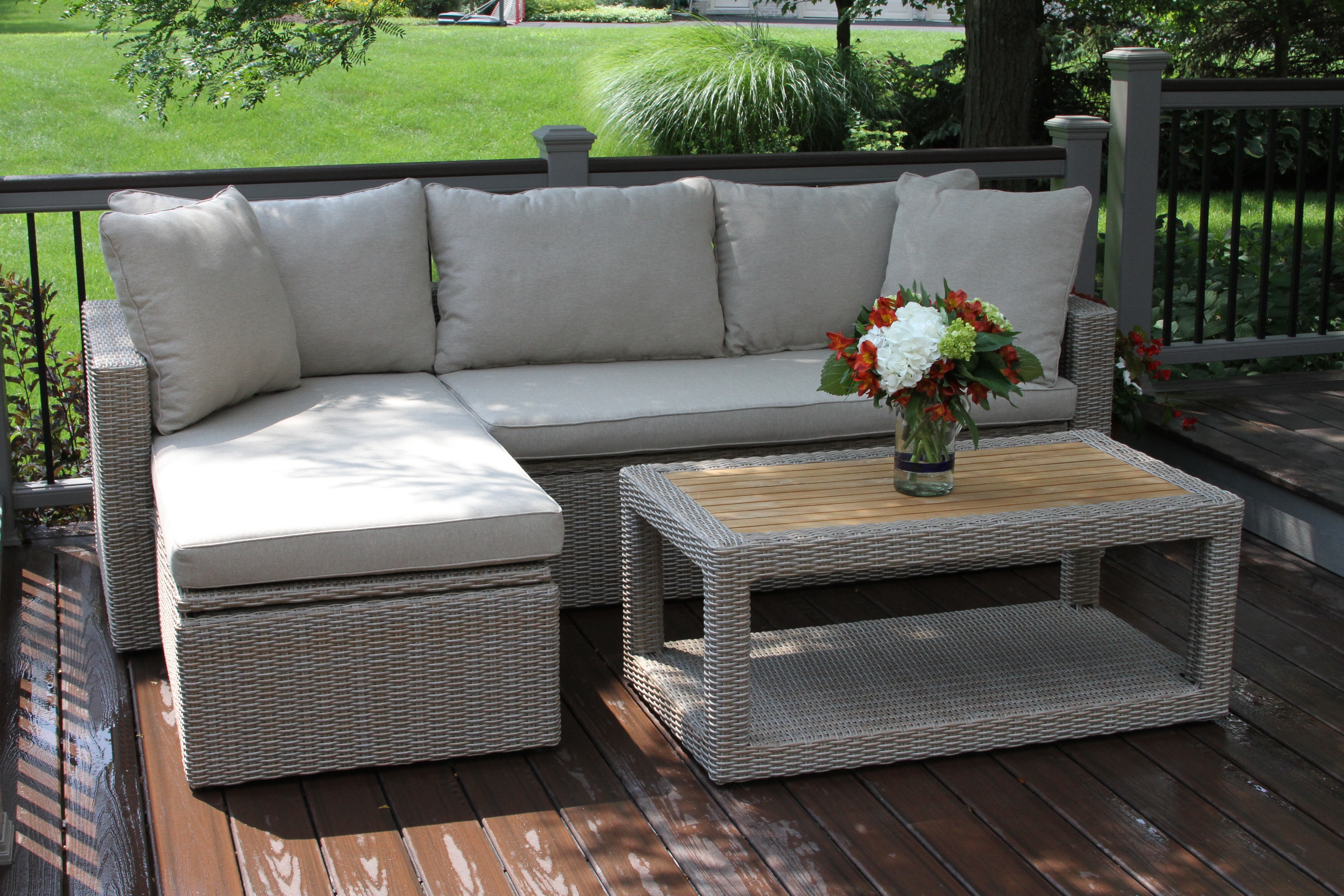 Teak Wicker Sectional Ensemble Product Photo